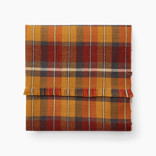 Roots-Women Accessories-Harvest Plaid Scarf-Camel-A