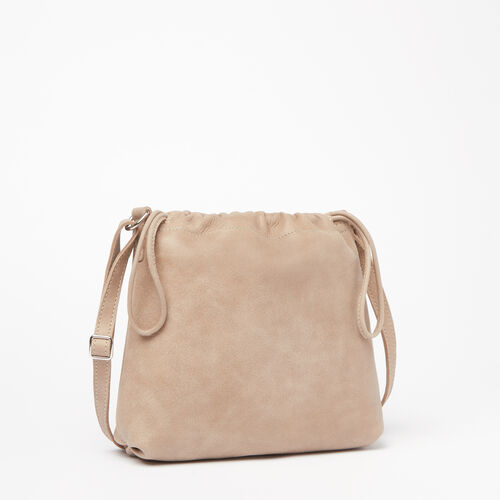 Roots-Leather Tribe Leather-Mini Drawstring Bag Tribe-Sand-A