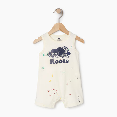 Roots-Kids Rompers & Onesies-Baby Splatter Tank Romper-Cannoli Cream-A