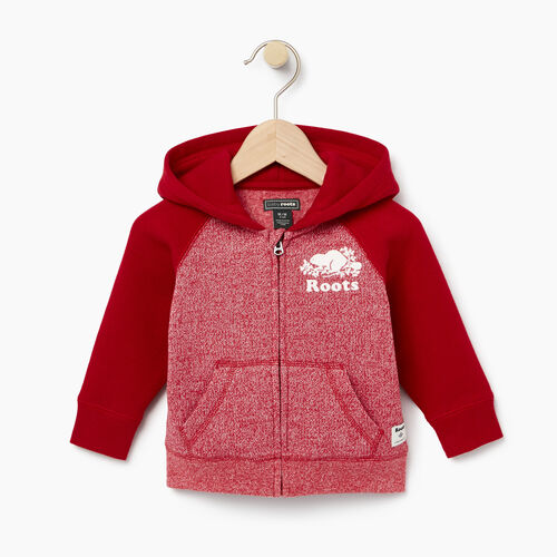 Roots-Clearance Baby-Baby Original Full Zip Hoody-Cabin Red Pepper-A