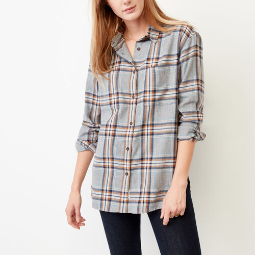 Roots-Sale Women-Brookside Flannel Shirt-Med Grey Mix-A