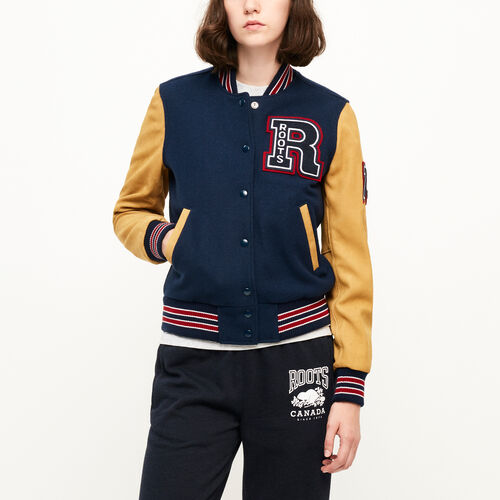 Roots-Leather  Handcrafted By Us Women's Award Jackets-Vintage Award Jacket-Navy-A