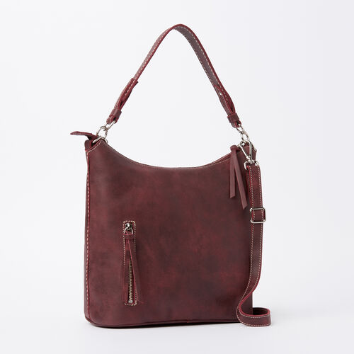 Roots-Leather  Handcrafted By Us Handbags-Ella Bag Tribe-Crimson-A