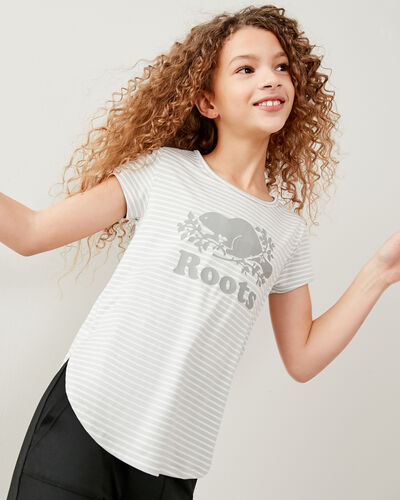 Roots-Kids T-shirts-Girls Lola Active T-shirt-Vapour Grey-A