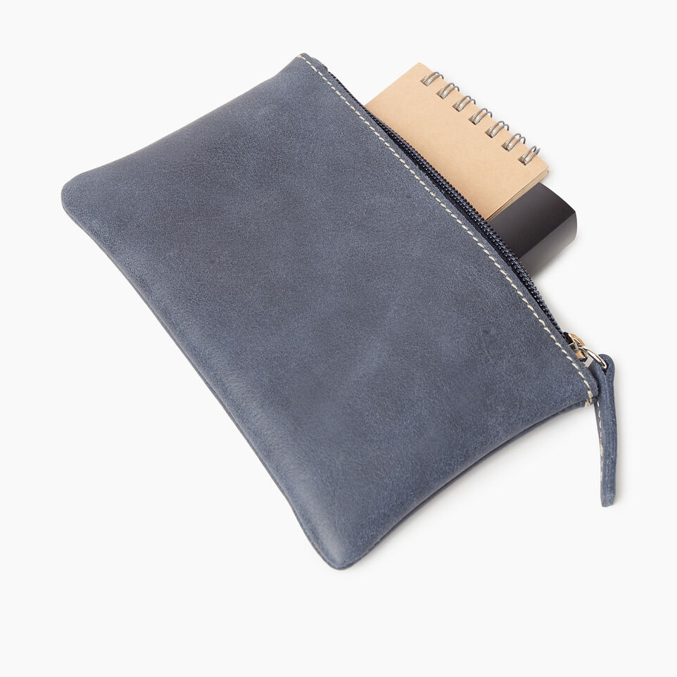 Roots-Leather New Arrivals-Medium Zip Pouch-Navy-C