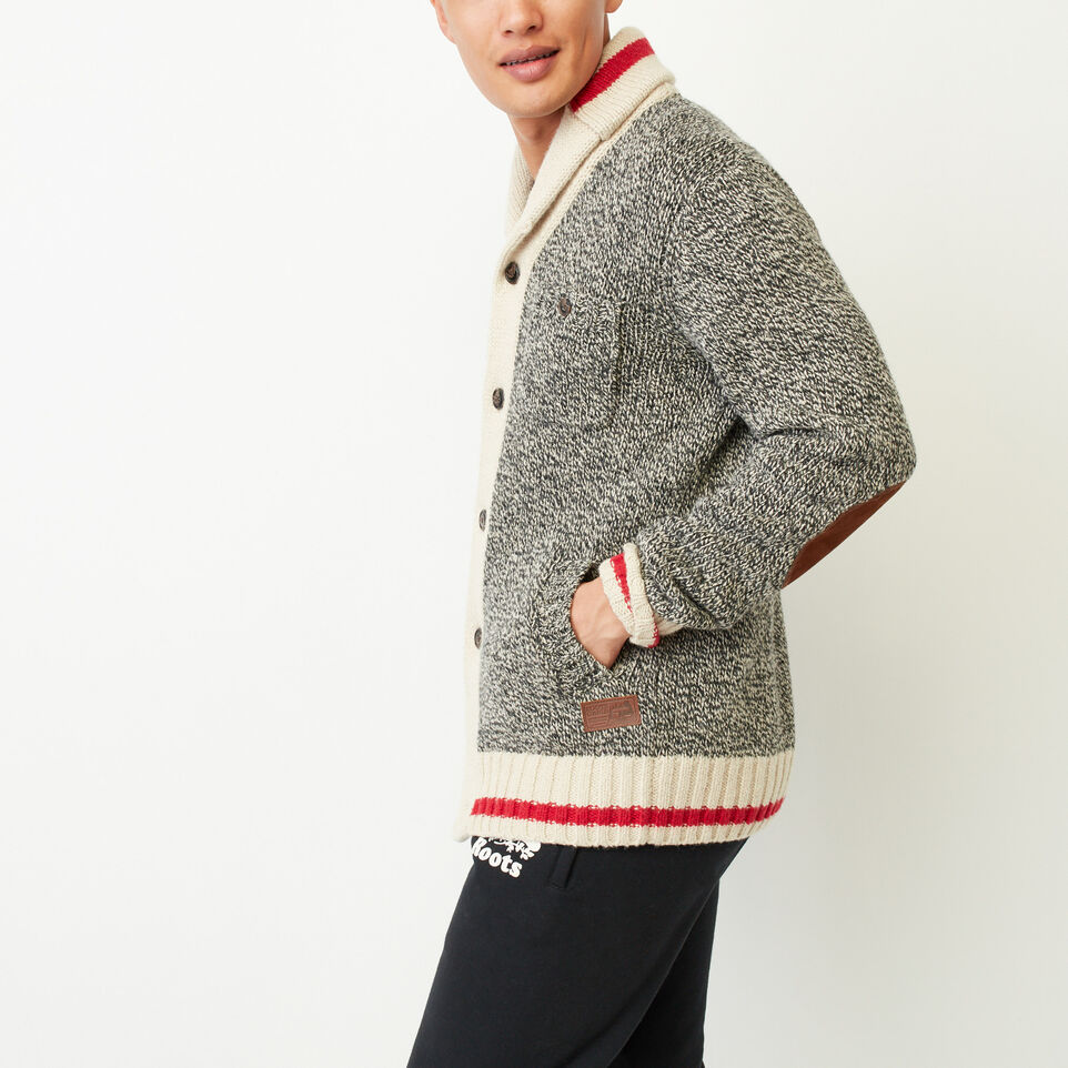 Roots-Clearance Men-Roots Cabin Shawl Cardigan-Grey Oat Mix-C