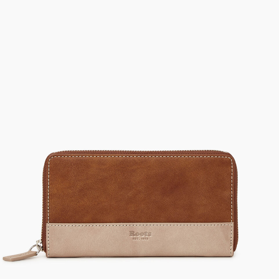 Roots-Leather  Handcrafted By Us Categories-Zip Around Wallet-Champagne/ Natural-A