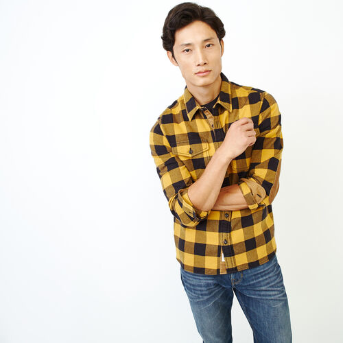 Roots-New For October Men-Park Plaid Shirt-Squash Yellow-A