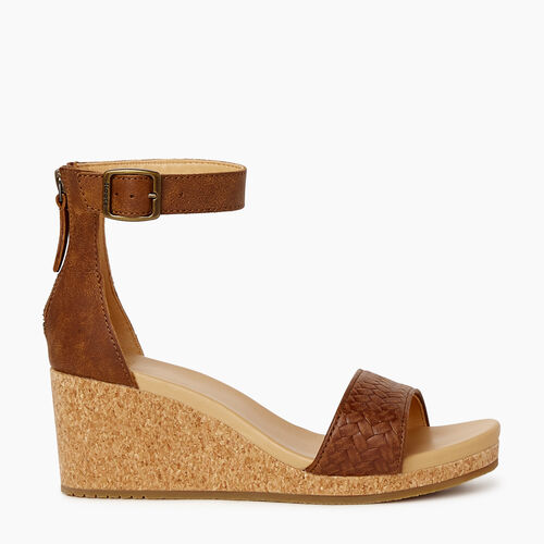 Roots-Footwear Categories-Womens Cranston Ankle Strap Wedge-Natural-A