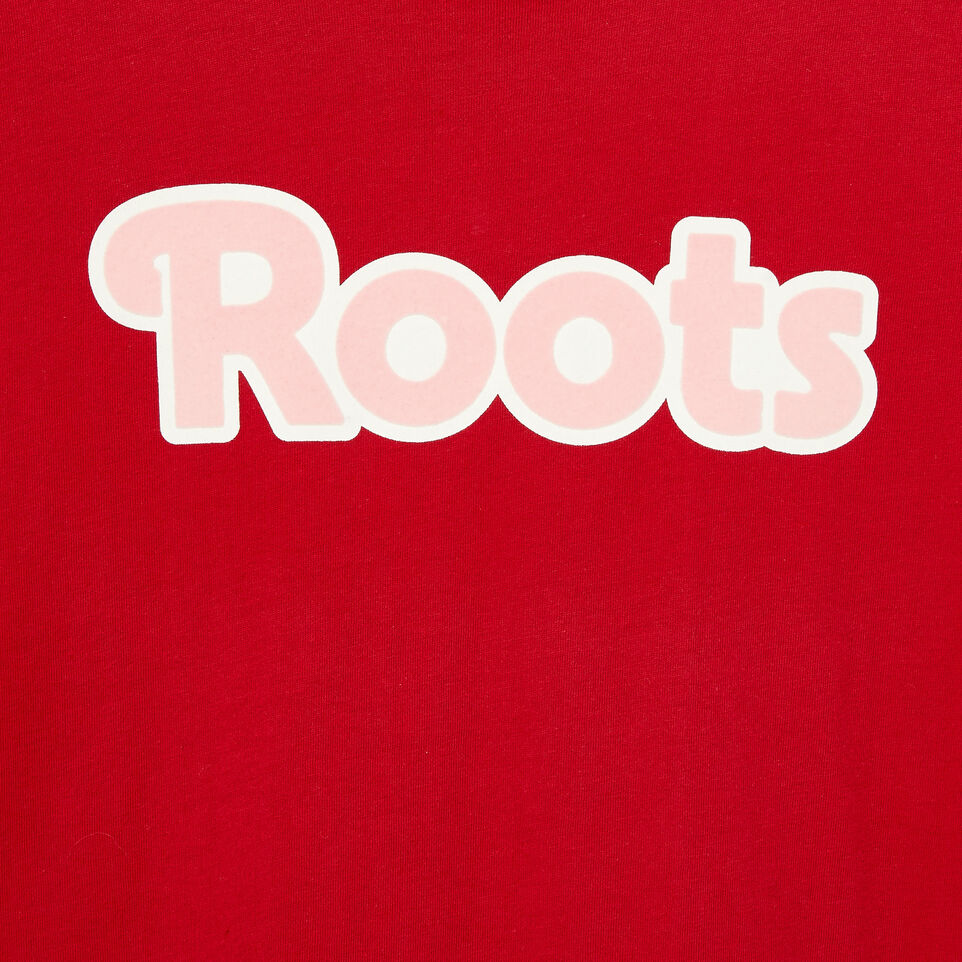 Roots-Clearance Kids-Girls Roots T-shirt-Cabin Red-D