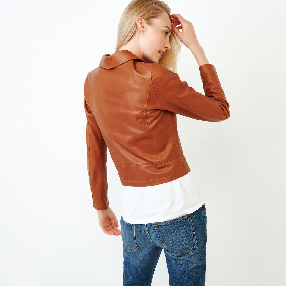 Roots-Leather Leather Jackets-Shay Jacket Vegetal-Tan-C