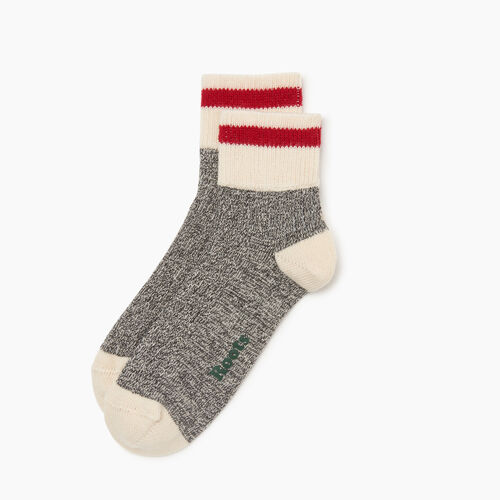Roots-Women Accessories-Cotton Cabin Ankle Sock 2 pack-Salt & Pepper-A