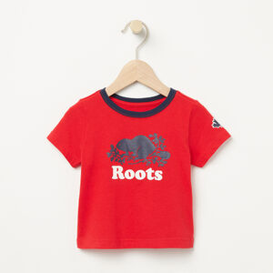 Roots-Kids T-shirts-Baby Cooper Ringer T-shirt-Racing Red-A