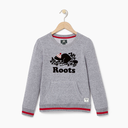 Roots-Kids Girls-Girls Buddy Crew Sweatshirt-Salt & Pepper-A