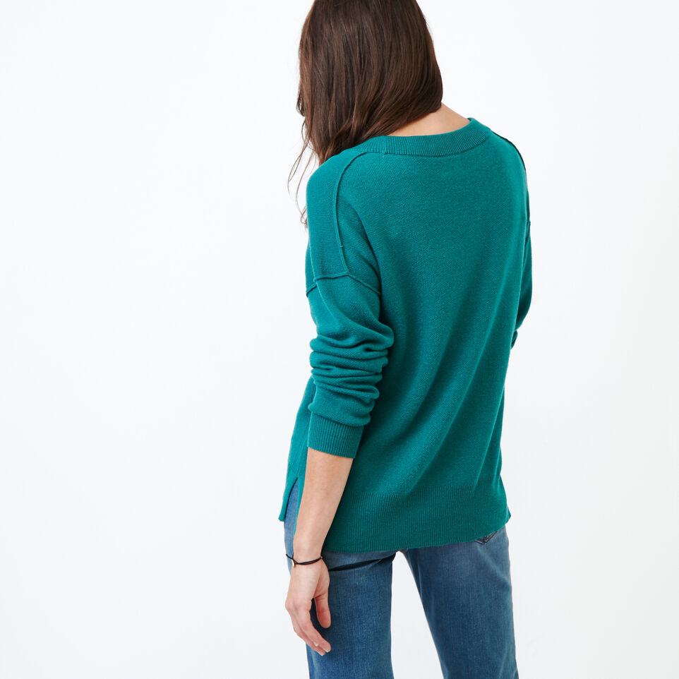 Roots-Women Categories-Alma V Neck Sweater-Teal Green-D