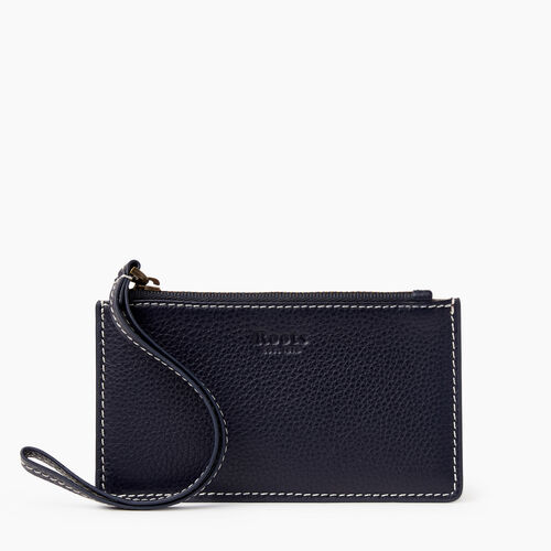 Roots-Leather Leather Accessories-Medium Card Wristlet Cervino-Navy-A