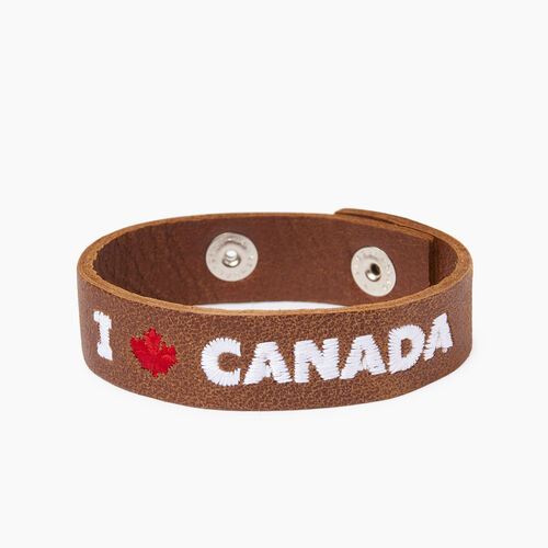 Roots-Leather  Handcrafted By Us Categories-I Love Canada Bracelet-Natural-A