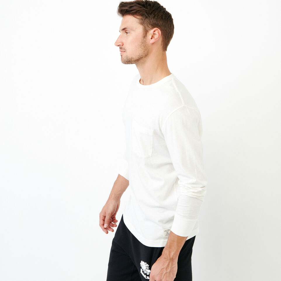 Roots-Men Our Favourite New Arrivals-Essential Pocket Longsleeve T-shirt-Ivory-C