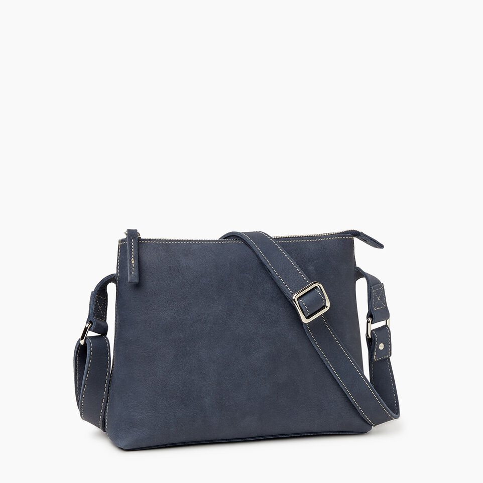 Roots-Leather New Arrivals-Journey Crossbody Tribe-Navy-C