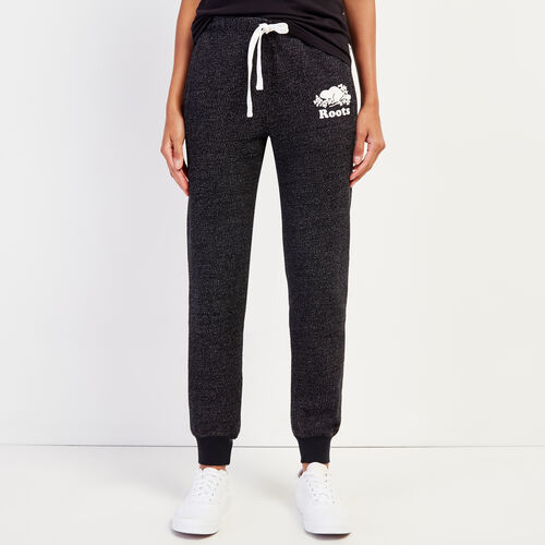 Roots-Women Slim Sweatpants-Original Slim Cuff Sweatpant-Black Pepper-A