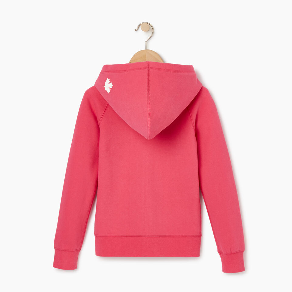 Roots-Clearance Kids-Girls Original Full Zip Hoody-Pink Flambé-C