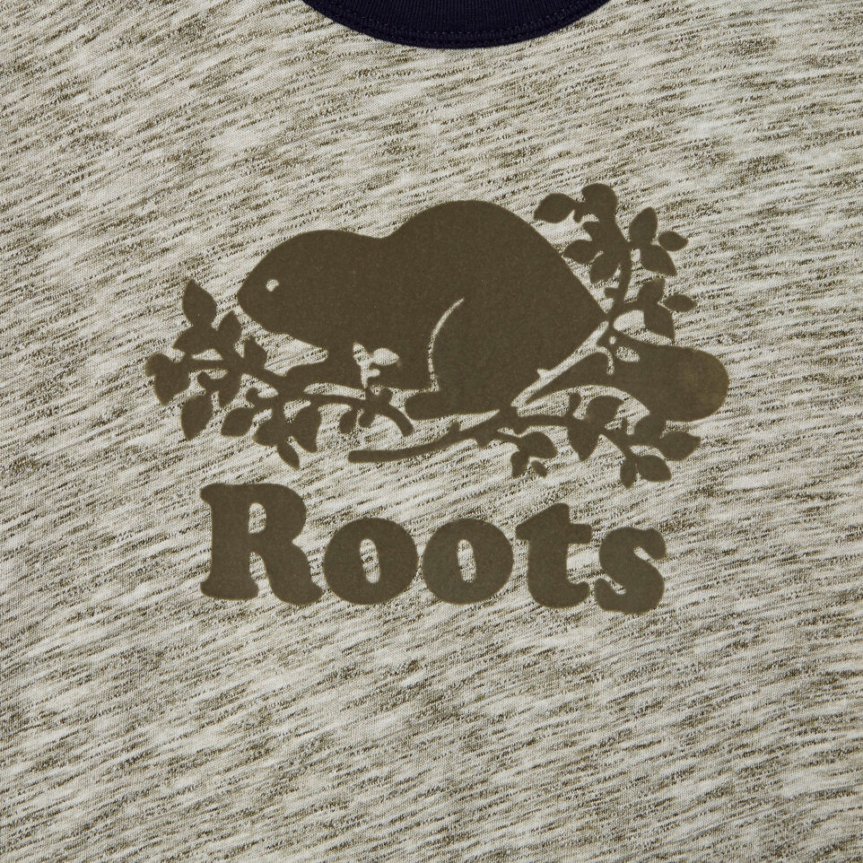 Roots-New For August Kids-Boys Roots Space Dye T-shirt-Winter Moss Green-D