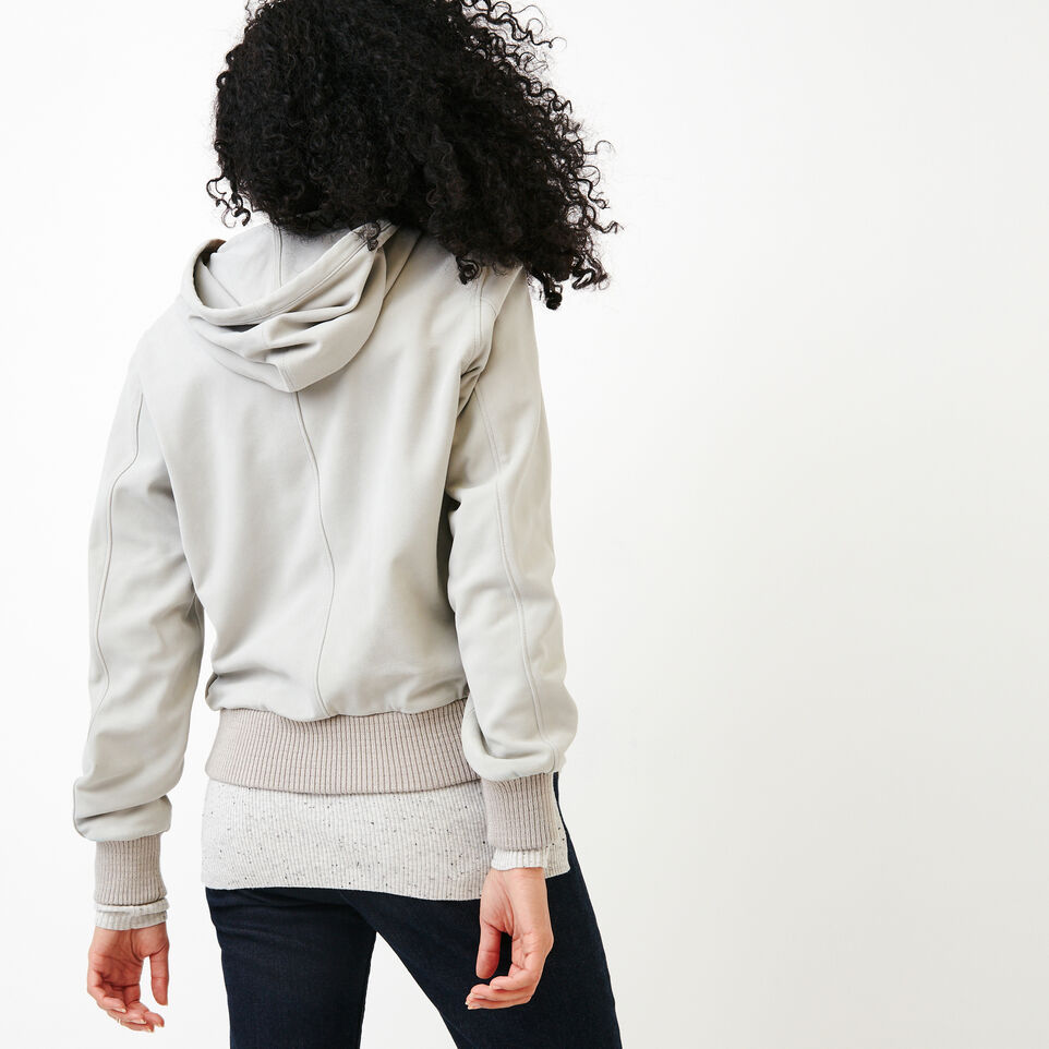 Roots-Women Leather Jackets-Alex Hoody Suede-Light Grey-D