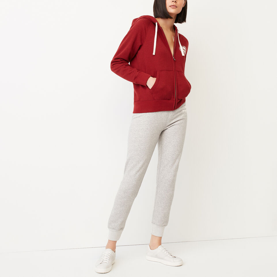 Roots-Clearance Women-Roots Vault Full Zip Hoody-Cabin Red Mix-B