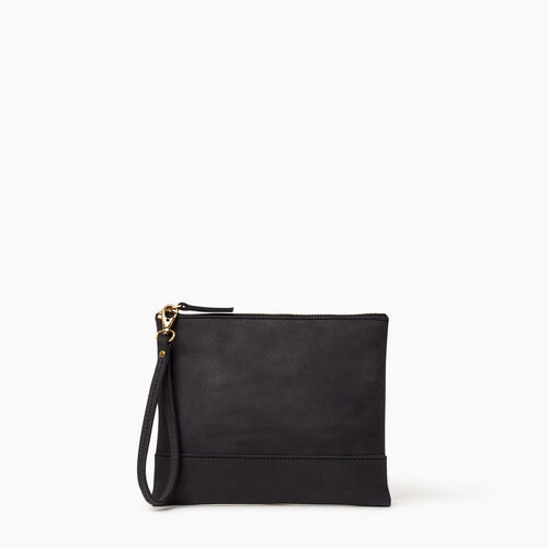 Roots-Leather Collections-Junction Wristlet-Jet Black-A