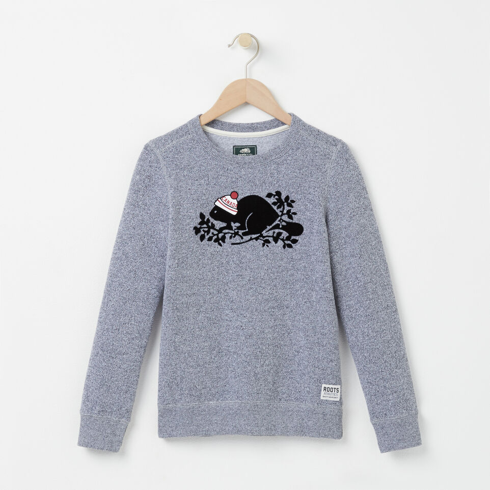 Roots-undefined-Girls Pom Pom Beaver Crewneck-undefined-A