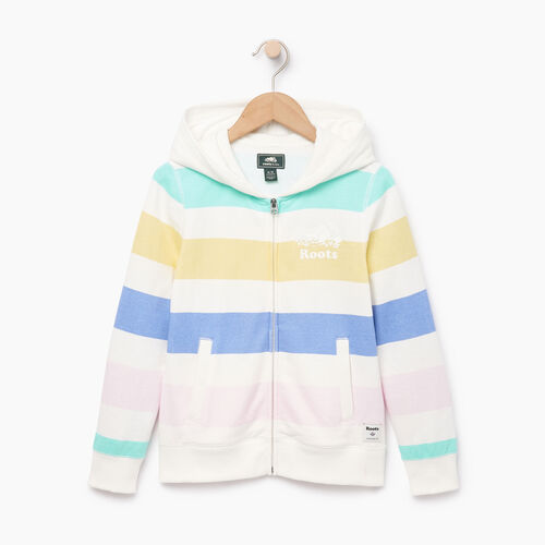 Roots-Clearance Kids-Girls Ombre Stripe Full Zip Hoody-Ivory-A