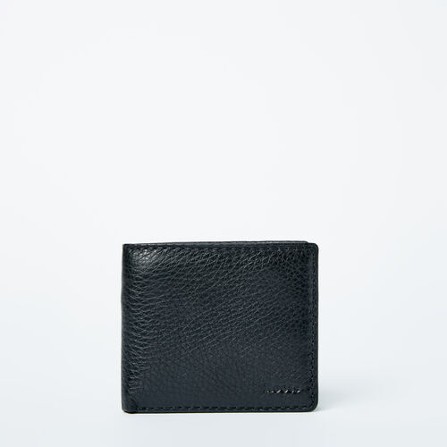 Roots-Leather  Handcrafted By Us Categories-Mens Slimfold Wallet With Coin Pocket Prince-Black-A
