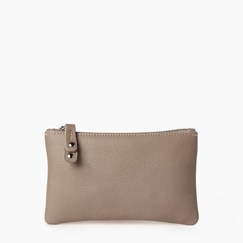 Roots-Leather Categories-Medium Zip Pouch-Flint Grey-A