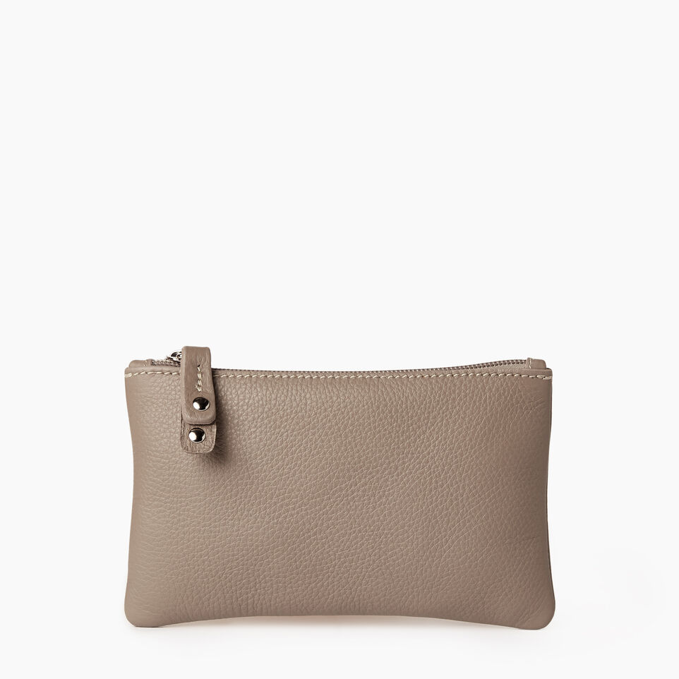 Roots-Leather  Handcrafted By Us Our Favourite New Arrivals-Medium Zip Pouch-Flint Grey-A