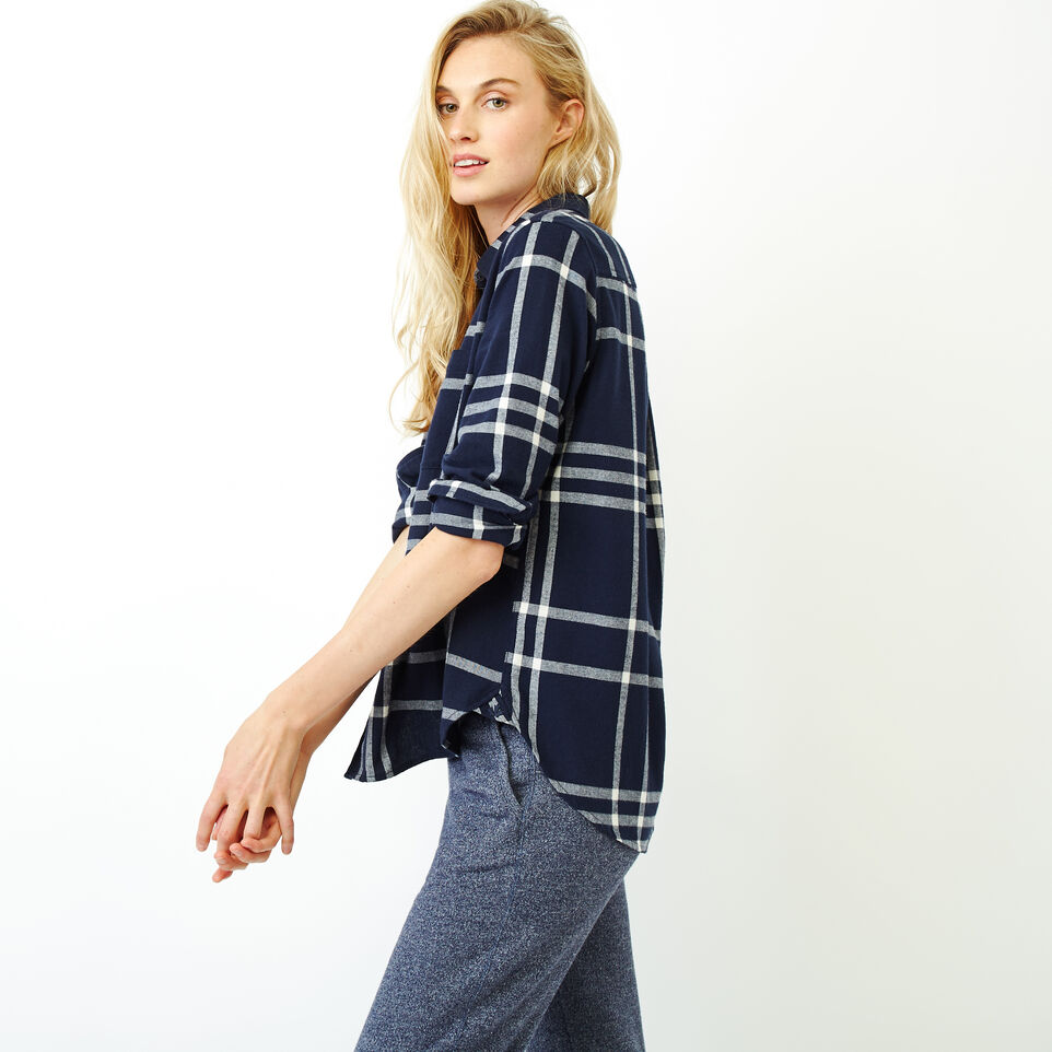 Roots-Women Categories-Relaxed Flannel Shirt-Navy Blazer-C