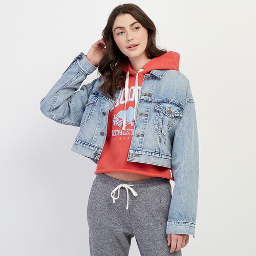 Roots-New For February Levi's-Levi's Crop Dad Trucker Jacket-Med Denim Blue-A