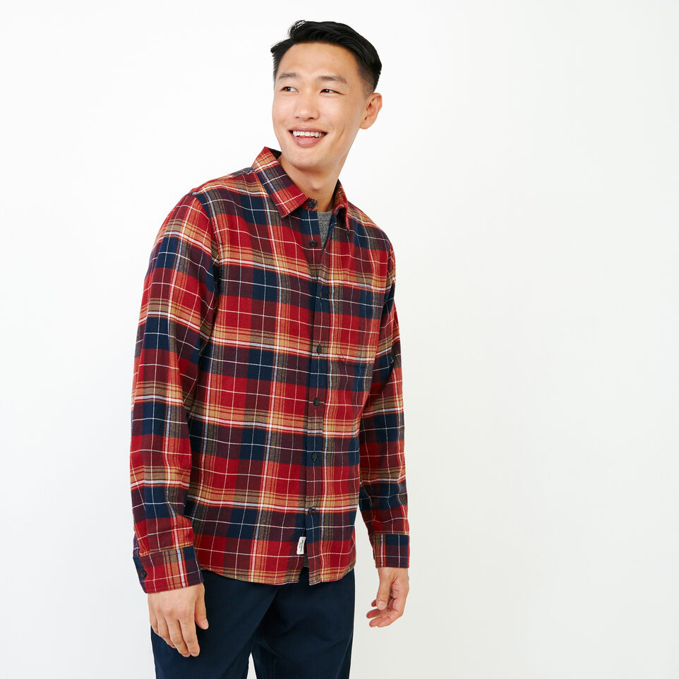 Roots-Men New Arrivals-Rivers Flannel Shirt-Sundried Tomato-A