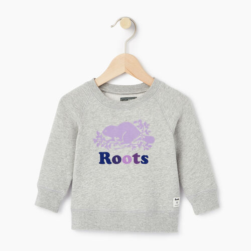Roots-Kids Categories-Baby Original Crewneck Sweatshirt-Grey Mix-A