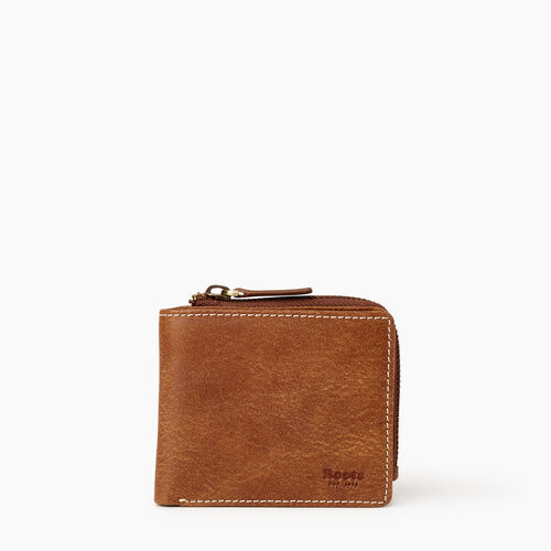 Roots-Leather  Handcrafted By Us Wallets-Mens Bifold Zip Wallet Tribe-Natural-A