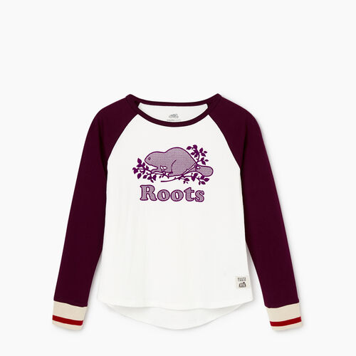 Roots-Kids Our Favourite New Arrivals-Girls Cabin Baseball T-shirt-Pickled Beet-A