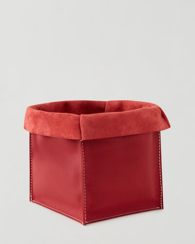 Roots-Leather Leather Accessories-Large Leather Basket Cervino-Lipstick Red-A