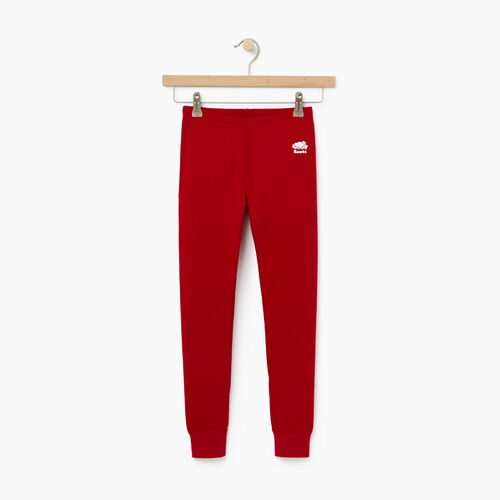 Roots-Kids Bottoms-Girls Cozy Fleece Legging-Cabin Red-A