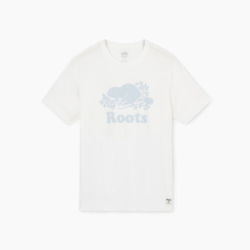 Roots-Men Graphic T-shirts-Mens Cooper Beaver T-shirt-Ivory-A