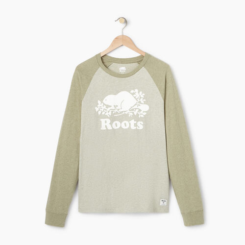 Roots-Men Our Favourite New Arrivals-Mens Cooper Raglan Long Sleeve  T-shirt-Spray Green Mix-A