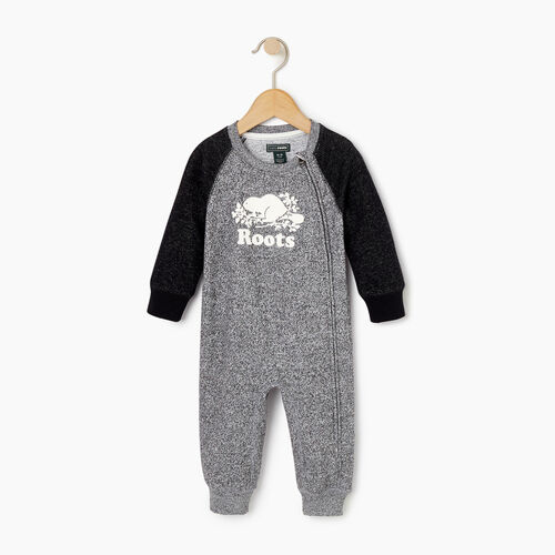 Roots-Kids Rompers & Onesies-Baby Original Cooper Beaver Romper-Black Pepper-A