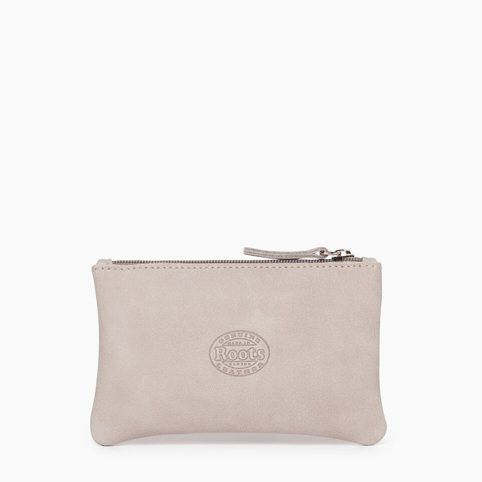 Roots-Leather Leather Accessories-Medium Zip Pouch-Sterling Grey-B
