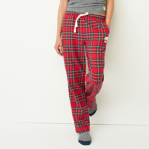 Roots-Winter Sale Women-Inglenook Lounge Pant-Lodge Red Tartan-A