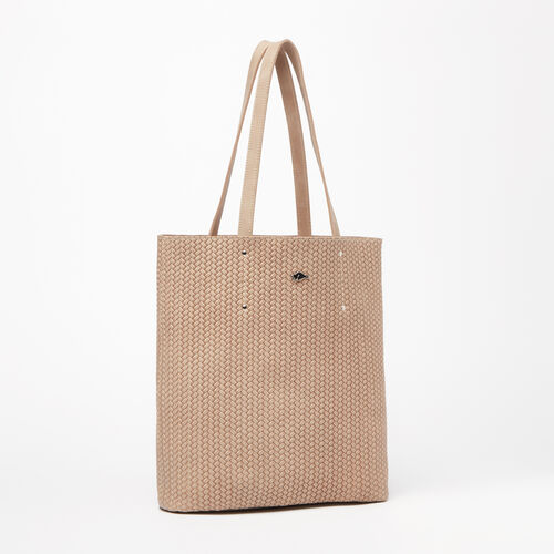 Roots-Sale Leather-Large Downtown Tote Woven Tribe-Sand-A