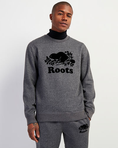 Roots-Men Sweatshirts & Hoodies-Cooper Beaver Crew Sweatshirt-Charcoal Pepper-A