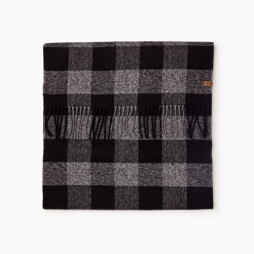 Roots-New For November Men-Roots Park Plaid Scarf-Salt & Pepper-A